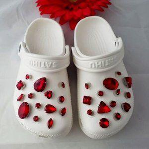 Croc Shoe Charm Pendant Rhinestone Charms RED